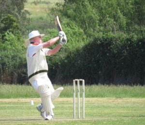 SA's cricket captain Michael Willlson displays one of his wonderful hooks at the cricket balll.