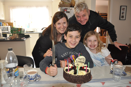 grandson Angus's 13th birthday celebration with family in Melbourne